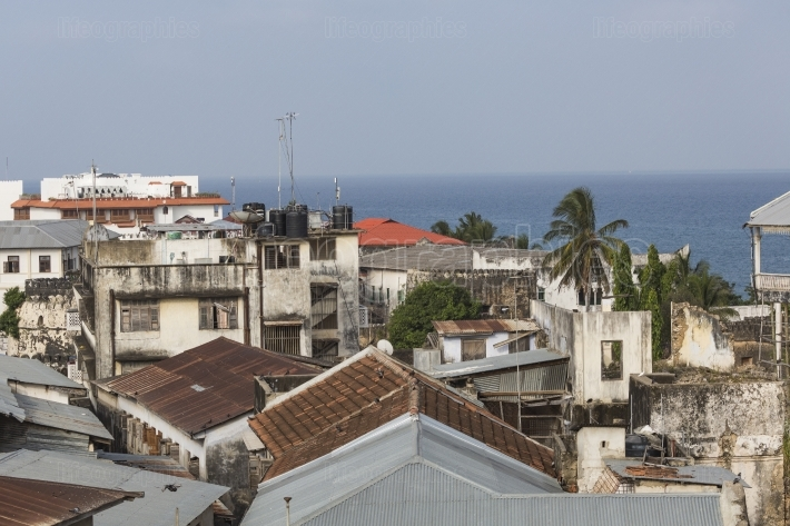 Rooftop view over the african city of stonetown zanzibar showing