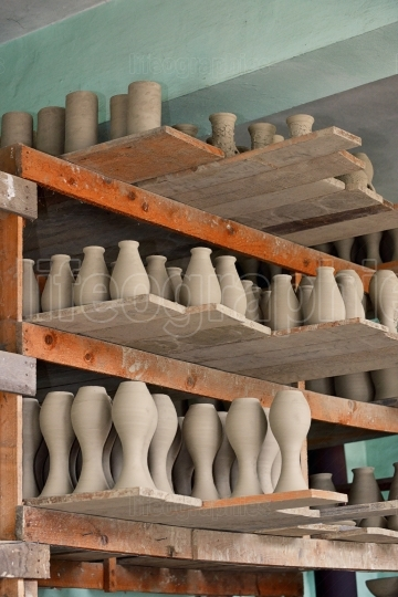 Rows of Drying Pottery