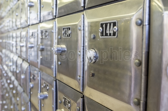 Rows of metal post office boxes