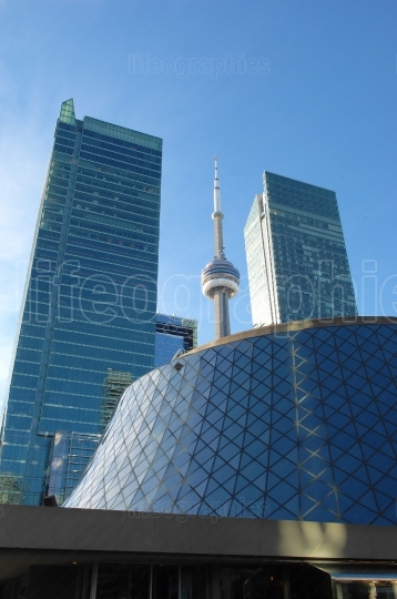 Roy thomson hall and cn tower.