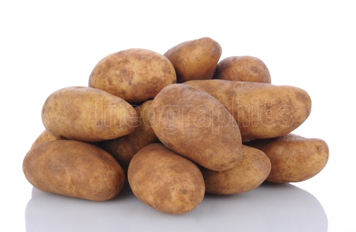 Russet Potatoes on White