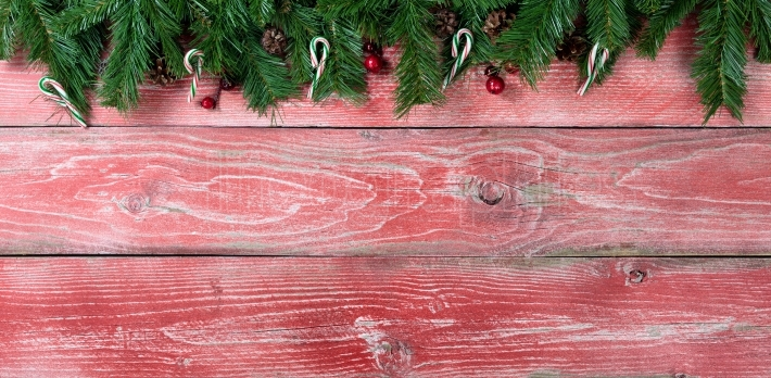 Rustic red wooden boards with fir branches for Christmas season