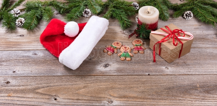 Rustic wooden boards with Christmas objects