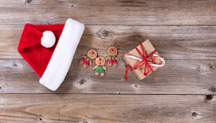 Rustic wooden boards with various Christmas items