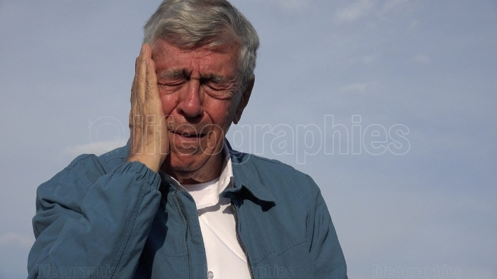 Sad Elderly Old Man With Toothache