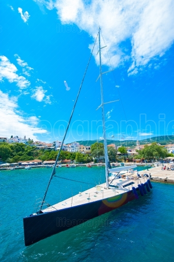 Sailing boat in marina