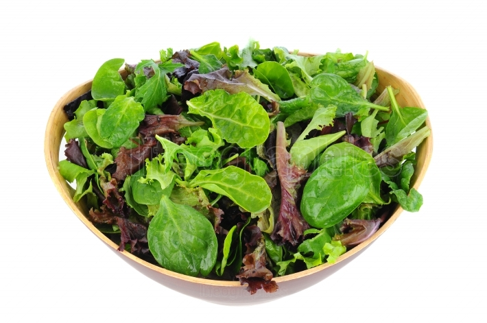 Salad Greens in Wood Bowl
