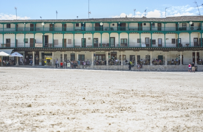 Sand detail of main square at Chinchon town, Spain