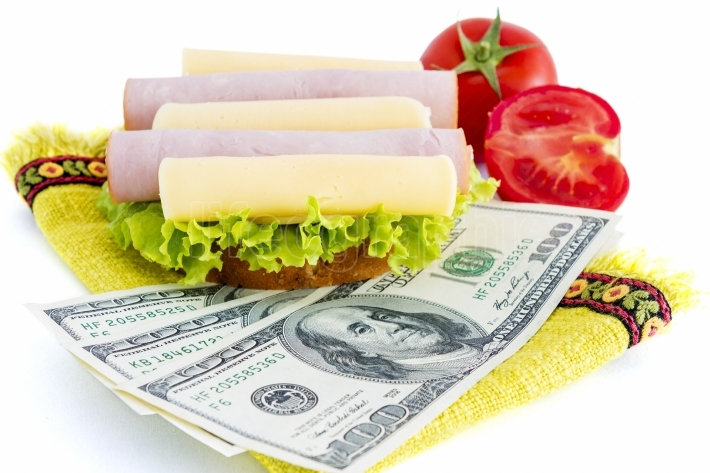 Sandwich and dollars