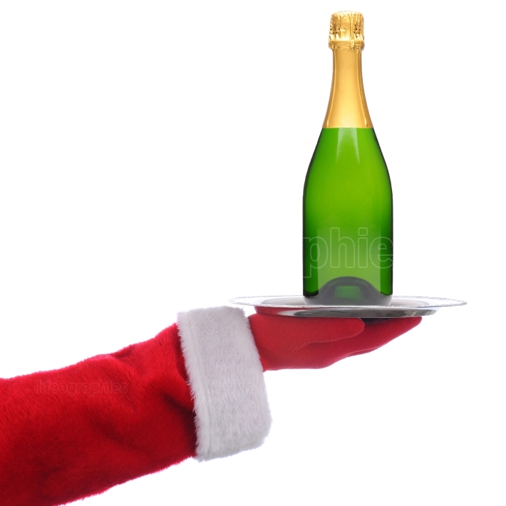 Santa Claus with Champagne Bottle on Tray