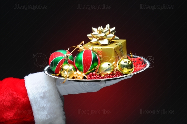 Santa Claus With Gift on Tray