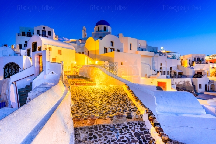Santorini, Greece   Oia twilight with greek church