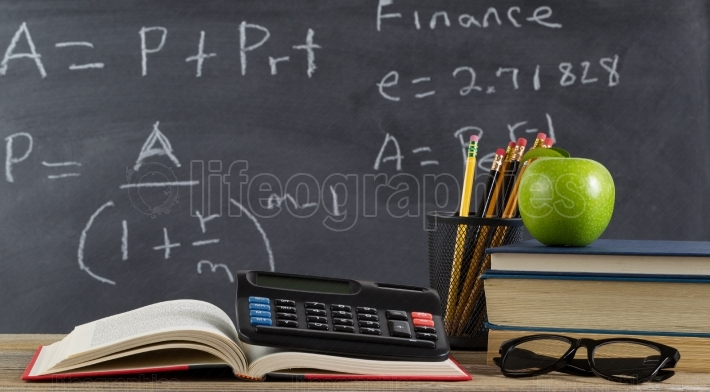 School desktop for learning finance formulas