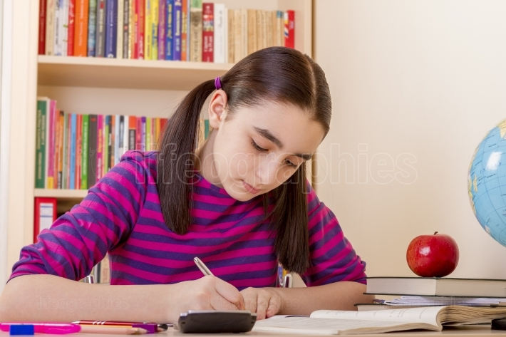 Schoolgirl doing her homework