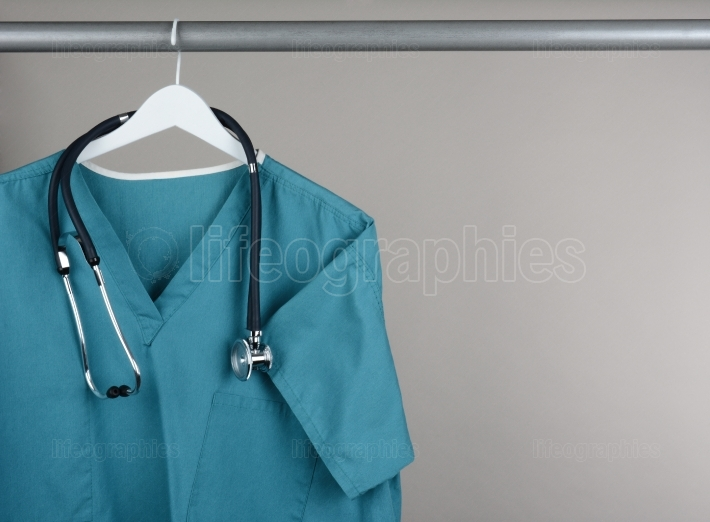 Scrubs with Stethoscope on Hanger Horizontal