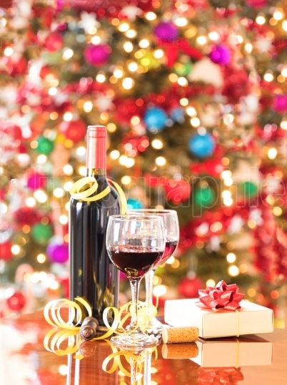 Seasonal holidays with red wine in glasses