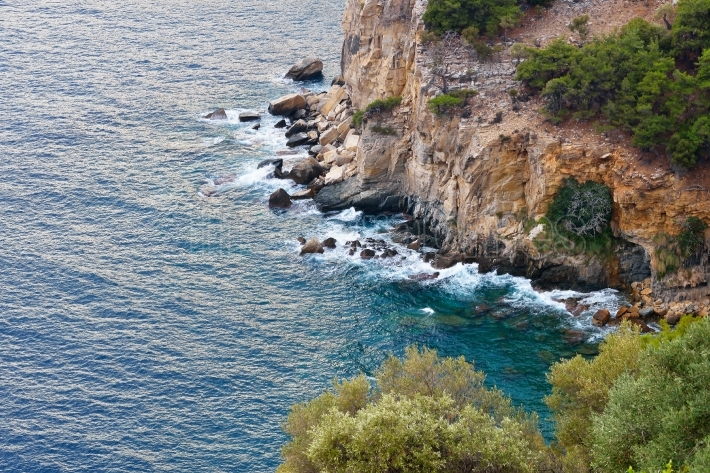 Seaview through the cliffs on the island of Thassos, Greece