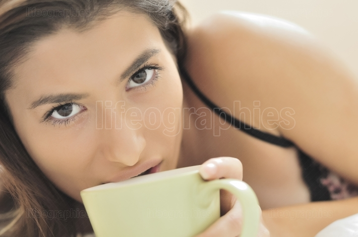 Sensual eyes and the morning coffee