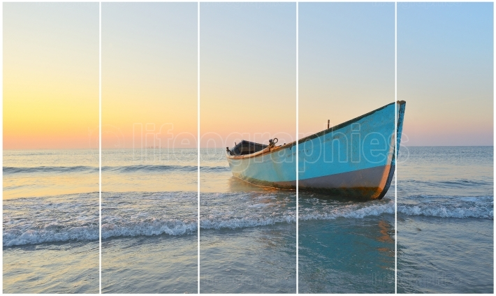 Separate frames of one photo of Fishing boat and sunrise