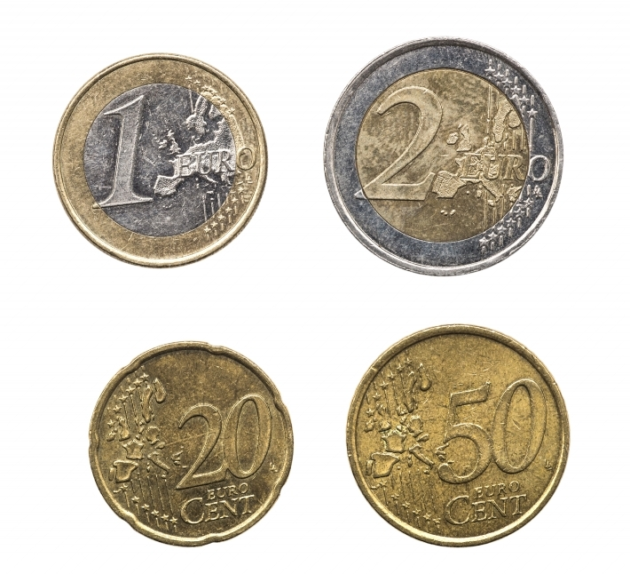 Set of euro coins in high resolution