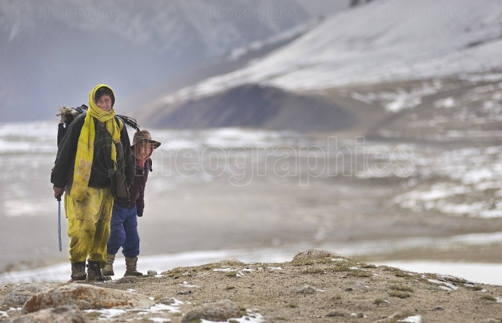 Shimshali woman and her son  from Upper Shimshal village (5400m)