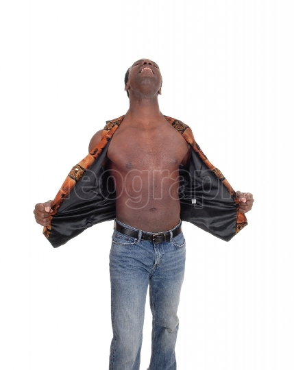 Shouting African man with oper vest