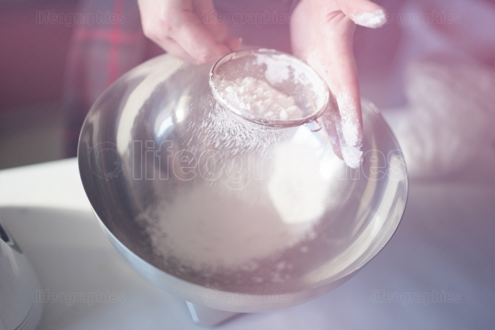 Sifting flour for cupcakes backdrop
