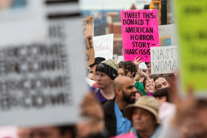 Sign About Trump Tweeting Stands Out At Atlanta Protest March