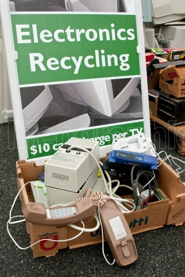 Sign Marks Spot To Dump Electronics At Recycling Event