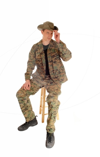 Sitting soldier relaxed.