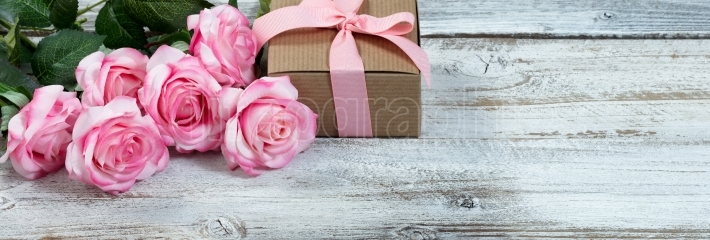 Six pink roses and giftbox on rustic white wooden background
