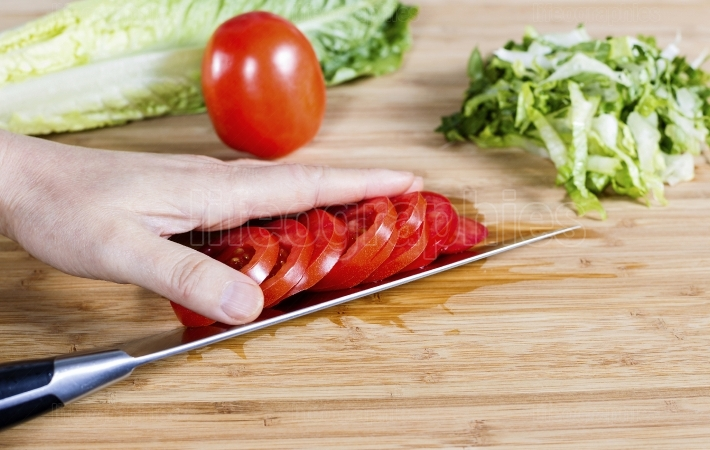 Slicing Tomato for Salad