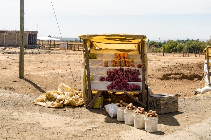 Small stall of fruits and vegetables on a dirt road in Masai Mar