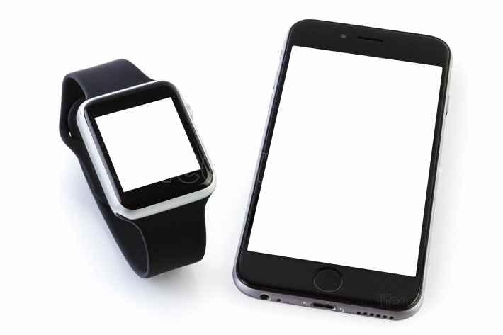 Smart watch sport with SmartPhone on white