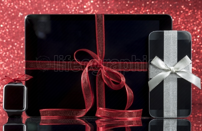 Smartphone and smartwatch and tablet pc with decorations