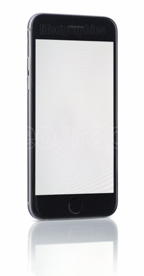 Smartphone with blank screen on white
