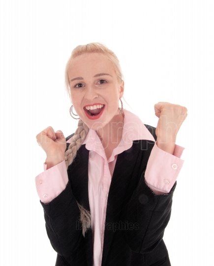 Smiling business woman with her fists