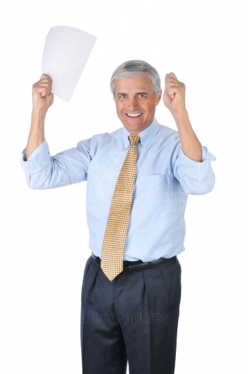 Smiling Businessman with his Arms Raised