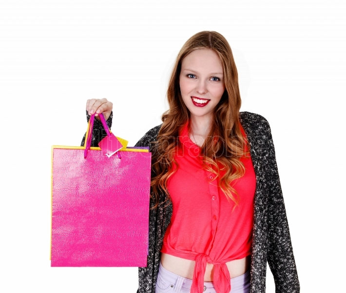 Smiling girl with shopping bag s