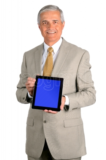 Smiling Middle Aged Businessman With Tablet
