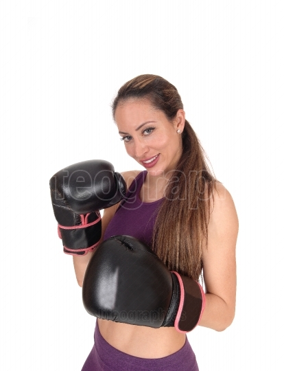 Smiling woman ready for a punch