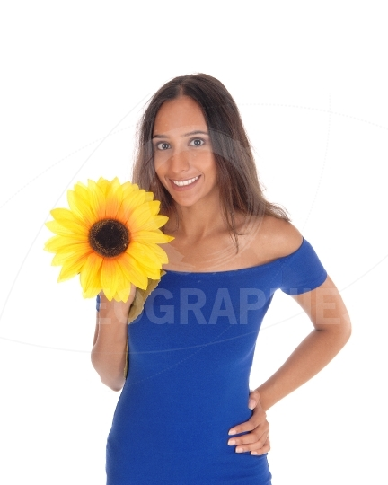 Smiling woman with sunflower