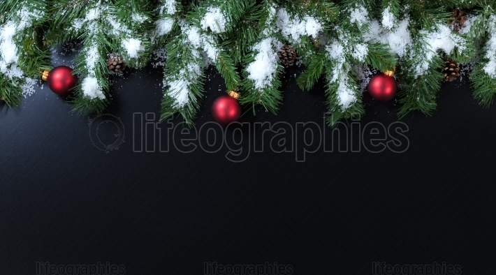 Snowy Christmas branches with red ornaments on black background