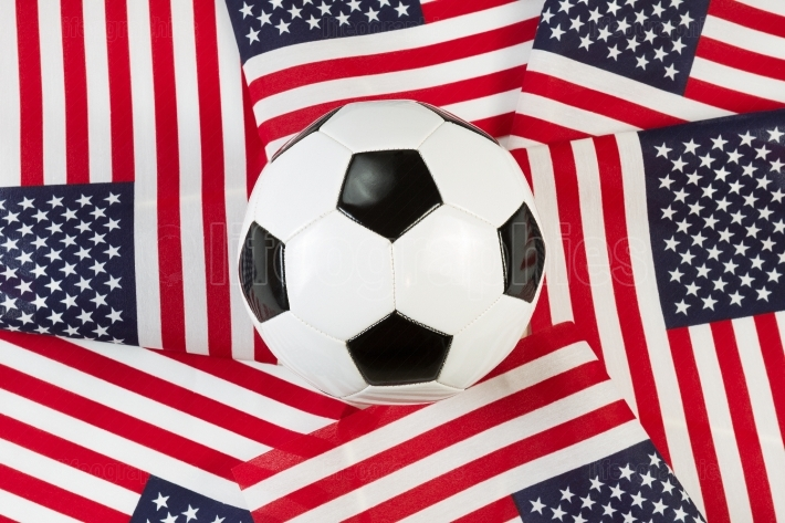 Soccer Ball with United States of America Flags
