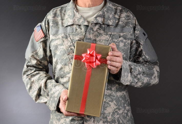 Soldier Holding Christmas Present