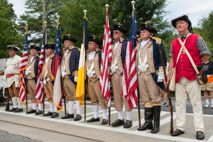 Sons of the american revolution stand ready to present colors
