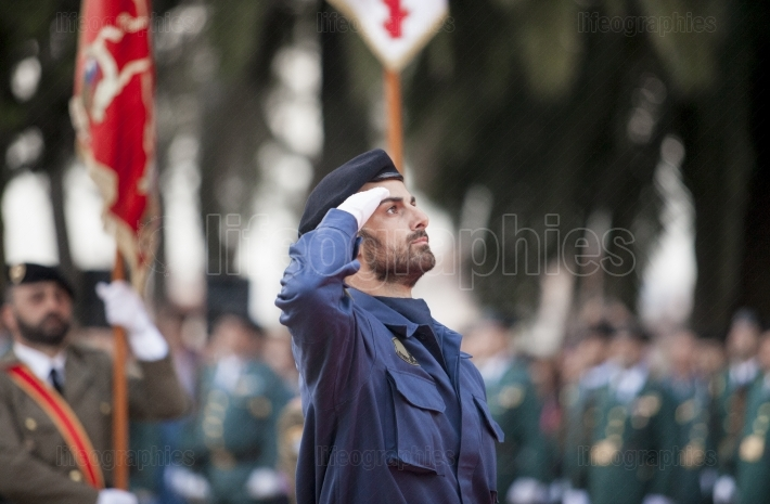 Spanish air force infantry soldier honoring fallen
