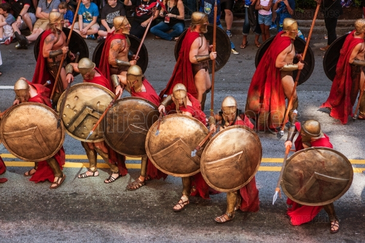 Spartan Warriors From Movie 300 Participate In Dragon Con Parade
