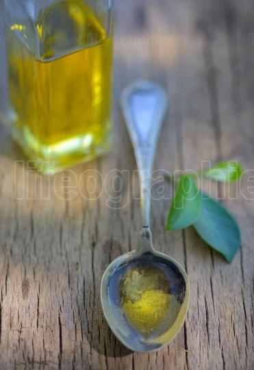 Spoon full of olive oil