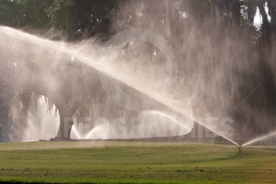 Sprinklers Pour Water Onto Golf Course Fairway